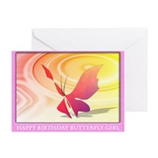 Happy Birthday Butterfly Girl Greeting Cards (Pk o