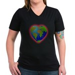 Earth Heart Women's V-Neck Dark T-Shirt