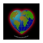 Earth Heart Black Tile Coaster