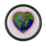 Earth Heart Large Wall Clock