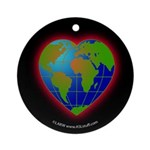 Earth Heart Black Ornament (Round)