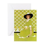 Lady in Green Greeting Card