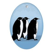 Penguin Ceramic Oval Ornament