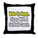 """Sleep w/ Softball Coach"" Throw Pillow"