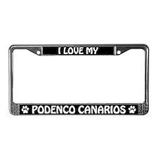 I Love My Podenco Canarios License Plate Frame