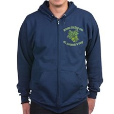 Born Lucky on ST PATRICKS DAY Zip Hoodie