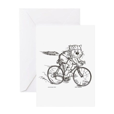 Bicycle Cat Greeting Card