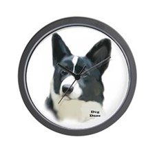 corgi portrait Wall Clock
