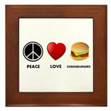 Peace Love Cheeseburgers Framed Tile