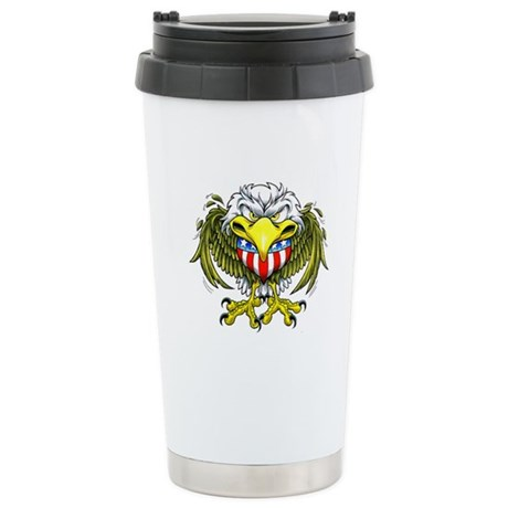 American Eagle Heart Tattoo Ceramic Travel Mug