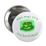 Irish Birthday with Shamrock Cake 2.25&quot; Button