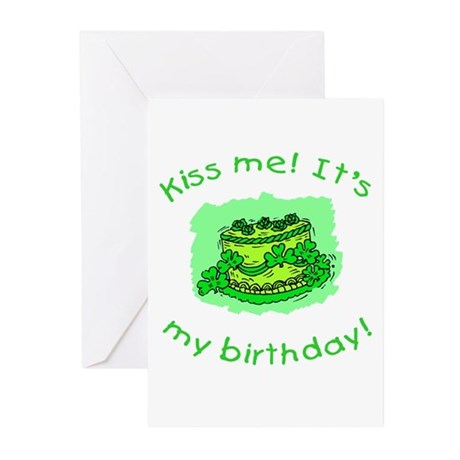 Irish Birthday with Shamrock Cake Greeting Cards (