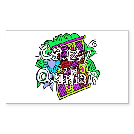 Crazy Quilter Rectangle Sticker