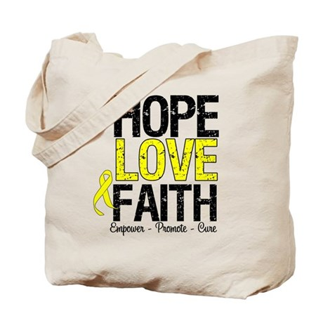 HopeLoveFaith BladderCancer Tote Bag