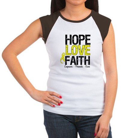 HopeLoveFaith BladderCancer Women's Cap Sleeve T-S