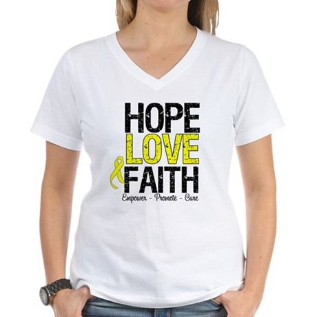 HopeLoveFaith BladderCancer Women's V-Neck T-Shirt