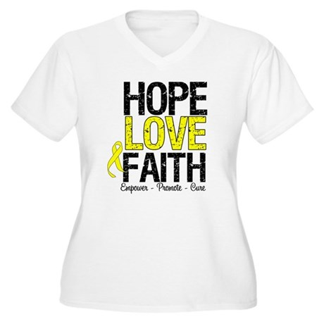HopeLoveFaith BladderCancer Women's Plus Size V-Ne