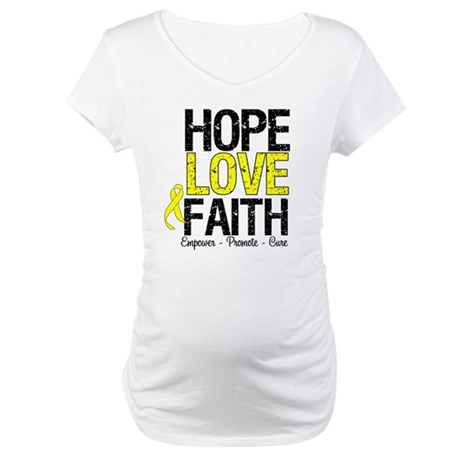 HopeLoveFaith BladderCancer Maternity T-Shirt