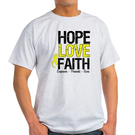 HopeLoveFaith BladderCancer Light T-Shirt