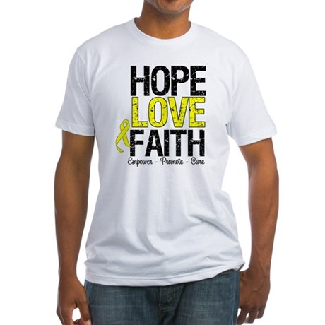 HopeLoveFaith BladderCancer Fitted T-Shirt