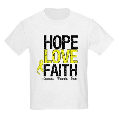 HopeLoveFaith BladderCancer Kids Light T-Shirt