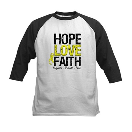 HopeLoveFaith BladderCancer Kids Baseball Jersey