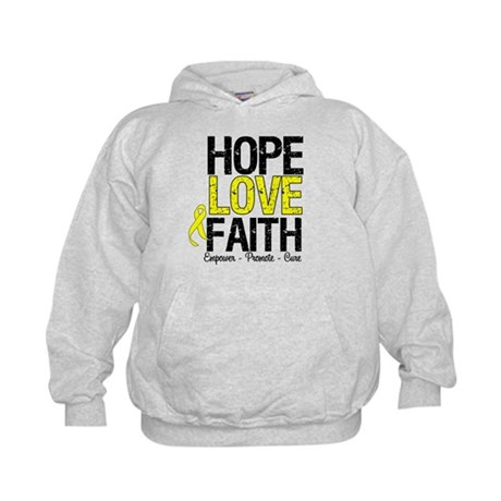 HopeLoveFaith BladderCancer Kids Hoodie