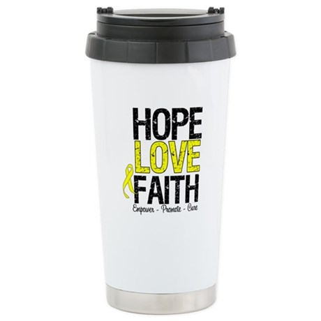 HopeLoveFaith BladderCancer Ceramic Travel Mug