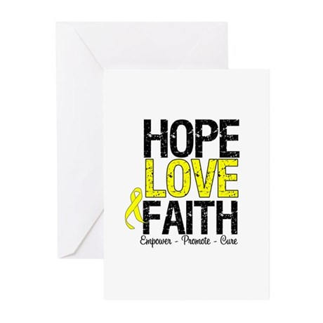 HopeLoveFaith BladderCancer Greeting Cards (Pk of