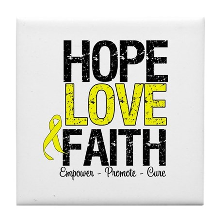 HopeLoveFaith BladderCancer Tile Coaster