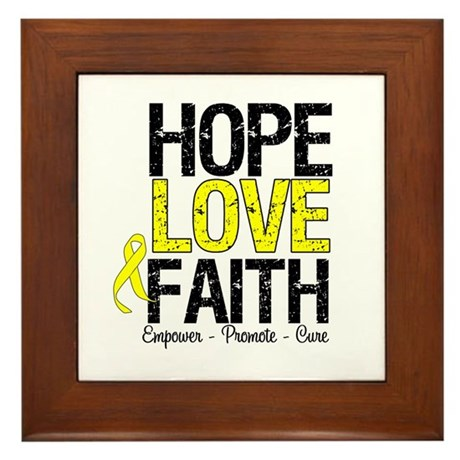 HopeLoveFaith BladderCancer Framed Tile