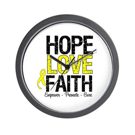 HopeLoveFaith BladderCancer Wall Clock