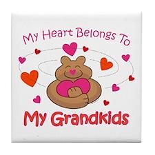 Heart Belongs To Grandkids Tile Coaster