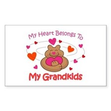 Heart Belongs To Grandkids Rectangle Decal