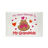 Heart Belongs To Grandkids Rectangle Magnet