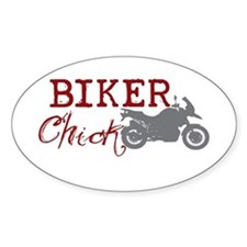 Biker Chick Oval Decal