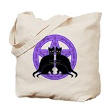 Purple Pentagram Cats Tote Bag