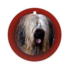 Briard Red Round Ornament