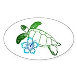 Sea Turtle Hibiscus Blue Oval Stickers