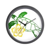 Sea Turtle Hibiscus Yellow Wall Clock