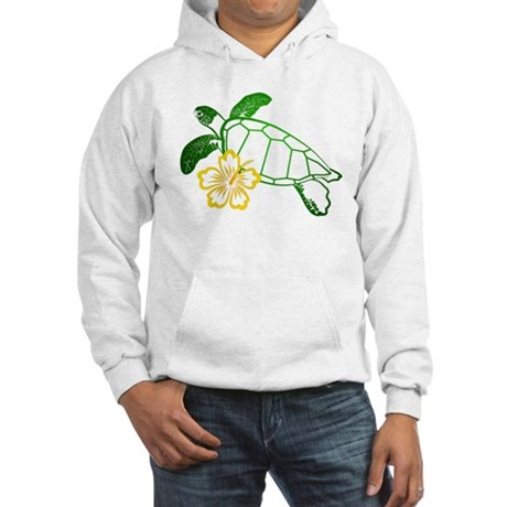 Sea Turtle Hibiscus Yellow Hooded Sweatshirt