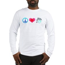 Peace Love Bottlenose Dolphin Long Sleeve T-Shirt