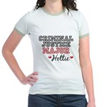 Criminal Justice Major Hottie Jr. Ringer T-Shirt