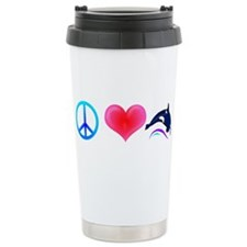 Peace Love Orca Ceramic Travel Mug