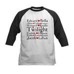 Twilight Hearts Collage Kids Baseball Jersey