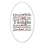 Twilight Hearts Collage Oval Sticker