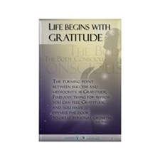 Life Begins with Gratitude Rectangle Magnet (10 pa