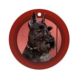 Black Miniature Schnauzer Red Round Ornament
