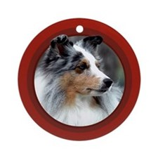 Blue Merle Sheltie Red Round Ornament