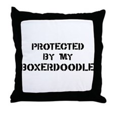 Protected by Boxerdoodle Throw Pillow